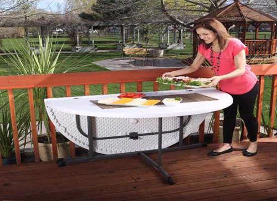 Lifetime 60 in. Commercial Round Fold-In-Half Table - White (25402) - Easy and convenient to carry for your next party.
