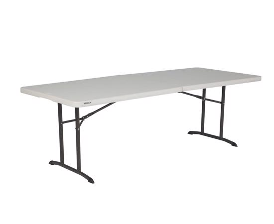 Lifetime 6 ft. Commercial Fold-In-Half Table with Handle- Almond( 80382) - Convenient and easy to carry for transportation.