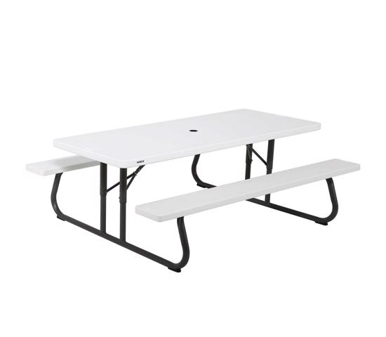 Lifetime 6 ft Folding Picnic Table - White (80215) - Comfortable accommodations for picnic adventures.