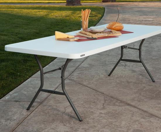 Lifetime 6 ft. Light Commercial Fold-In-Half Table with Handle (25011) - Ideal for indoor and outdoor use.