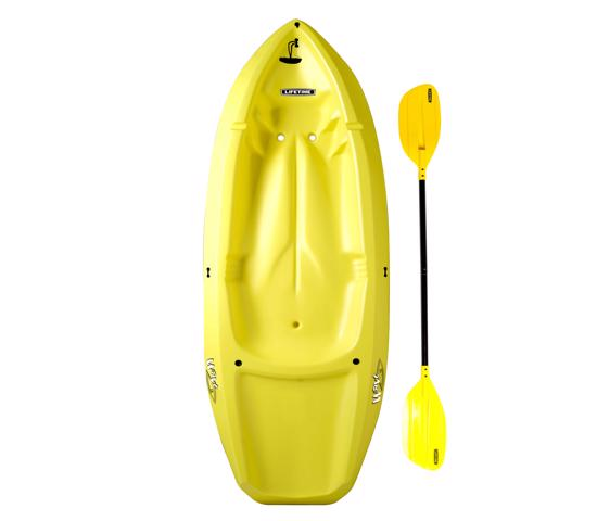 Lifetime 6 ft Wave Youth Kayak w/ Paddle and Backrest - Yellow (90100) - Best for kids recreational kayaking.