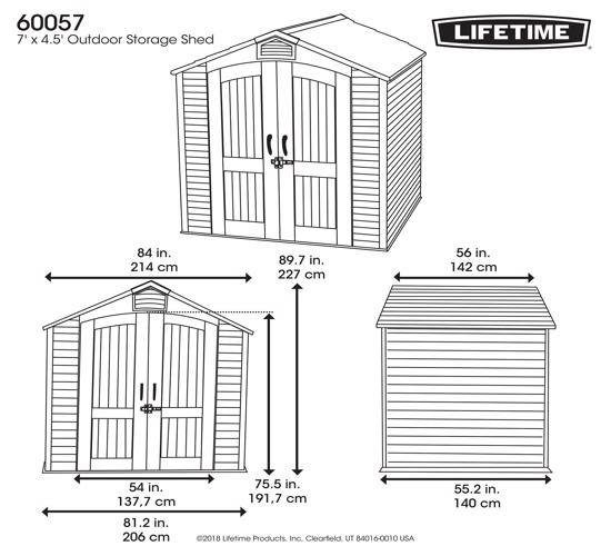 Lifetime 7x4.5 ft Plastic Outdoor Storage Shed Kit (60057) - Dimension for Lifetime shed model 60057