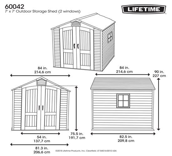 Lifetime 7x7 ft Storage Shed Kit - 2 Windows (60042) - Dimensions