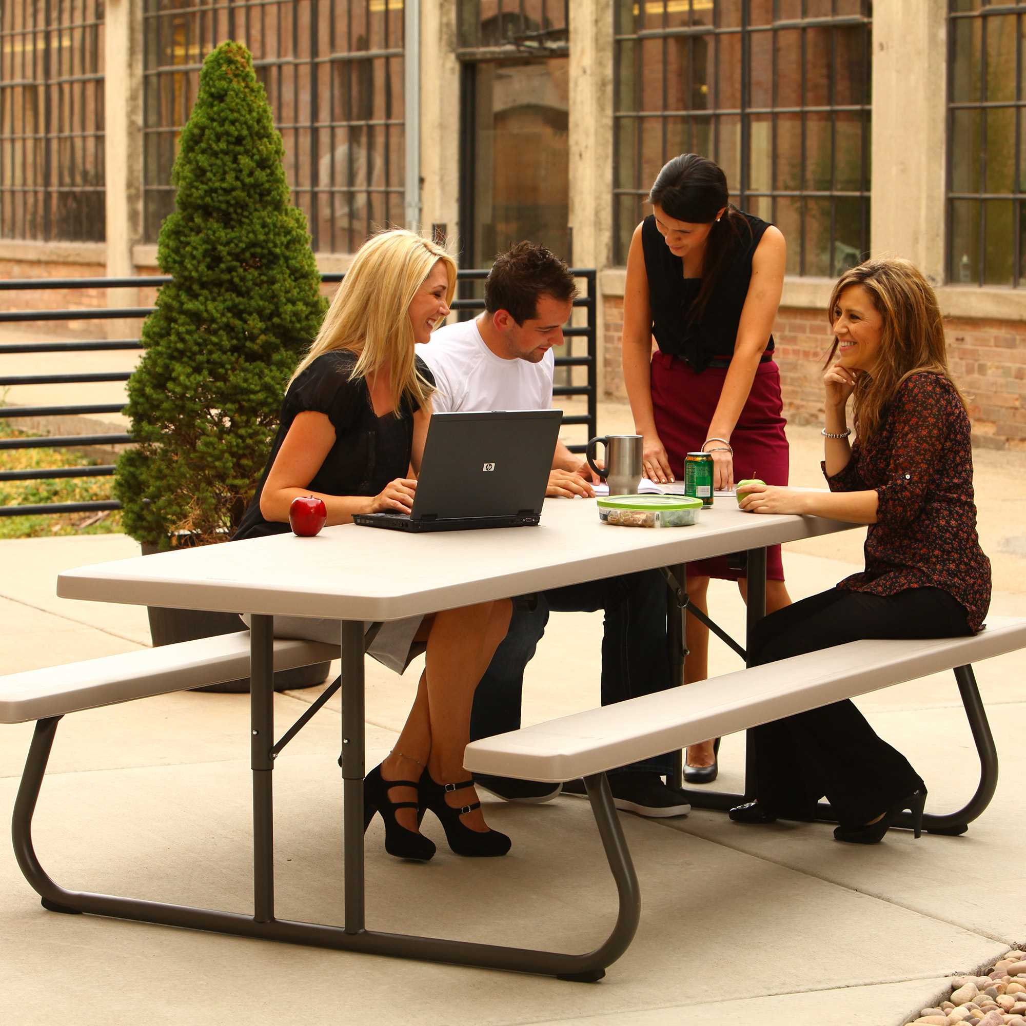 Lifetime 8ft Classic Folding Picnic Table - Putty (80123) Perfect for your meetings or gatherings.
