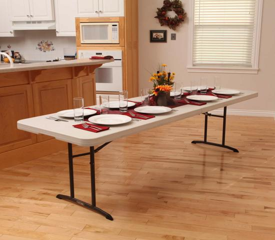 Lifetime 8 ft. Commercial Fold-In-Half Table with Handle - Almond (80175) - Offers reliable work table that is perfect for indoor and outdoor use.