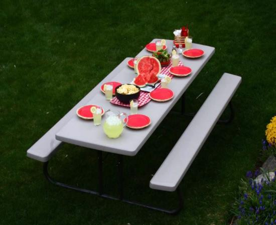 Lifetime 10-Pack 8 ft. Folding Picnic Tables - Putty (880123) - Ideal to use in public parks and city buildings