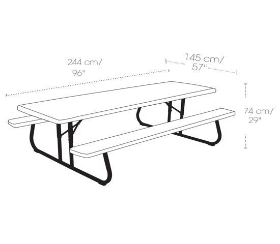 Lifetime 8ft Plastic Folding Picnic Table Putty (80123) - Measurement/diagram