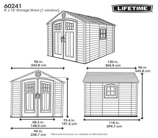 Lifetime 8x10 Storage Shed Kit w/ Floor (60241) - Dimensions