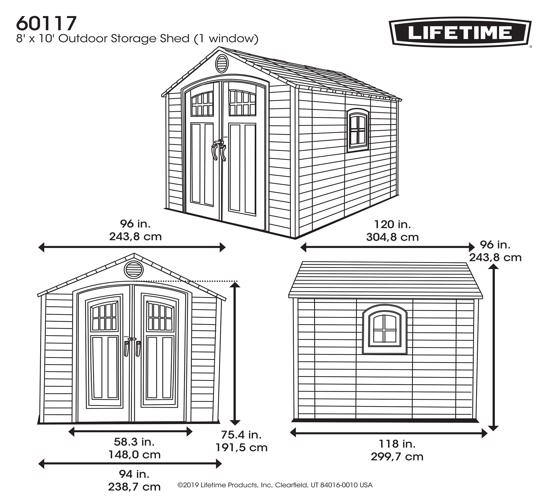 Lifetime 8x10 Storage Shed Kit w/ Corner Trims (60117) - Dimensions