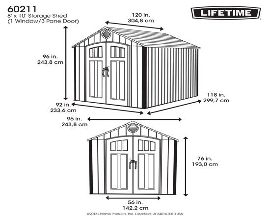 Lifetime 8 Ft. x 10 Ft. Outdoor Storage Shed *NEW Style* (60211U) - Dimension