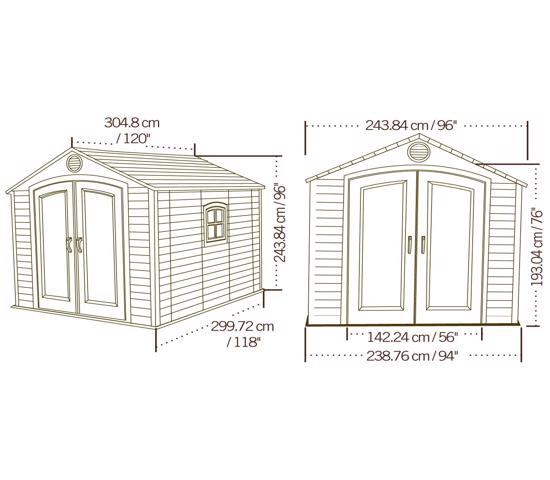 Lifetime 8x10 ft Outdoor Storage Shed Kit (60056) - Dimensions