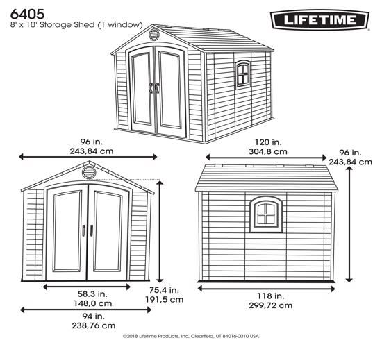 Lifetime 8x10 ft Outdoor Storage Shed Kit (6405) - Dimensions