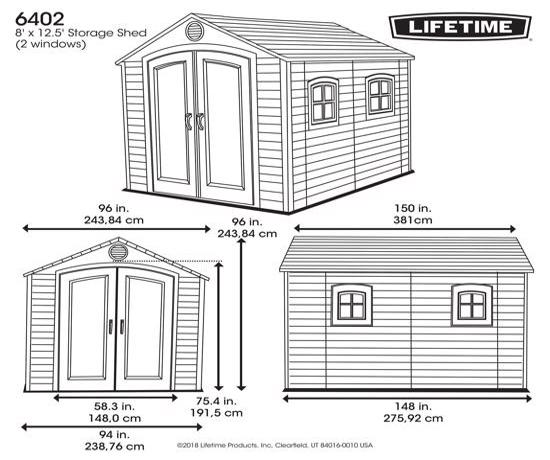 Lifetime 8x12.5 ft Plastic Storage Shed Kit (6402) - Dimensions