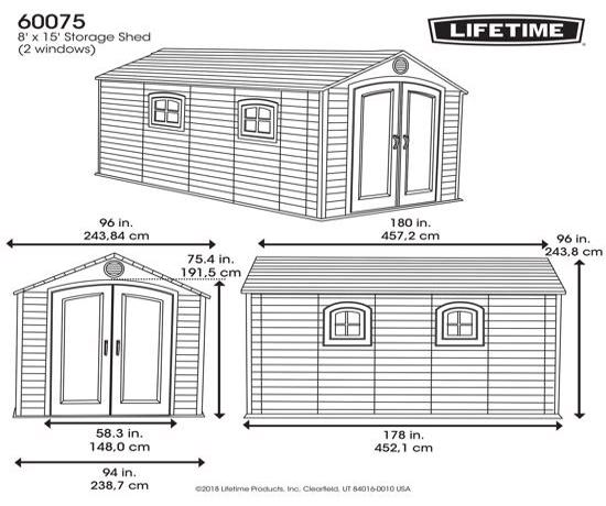 Lifetime 8x15 ft Plastic Storage Shed Kit - 2 Windows (60075) - Dimensions