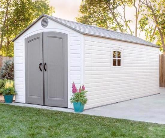 Lifetime 8x15 ft Plastic Storage Shed Kit - 2 Windows (60075) - Designed with two windows and includes lots of shelving to get organized and stay organized.