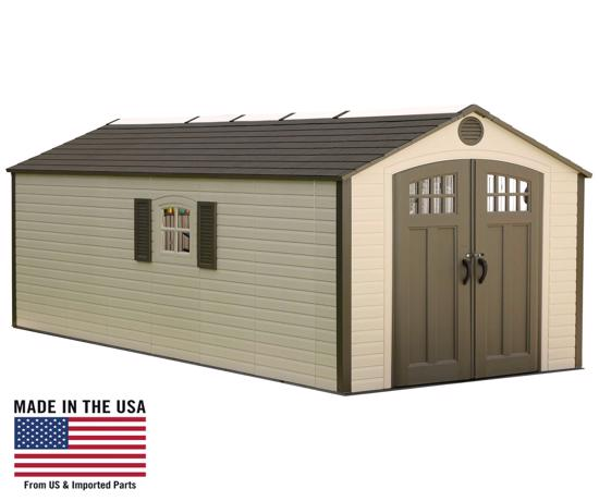 Lifetime 8x17.5 Ft Outdoor Storage Shed Kit w/ 2 Windows (60121) - Attractive design and perfect addition to your garage or backyard.