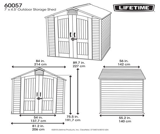 Lifetime 8x17.5 Ft Outdoor Storage Shed Kit w/ 2 Windows (60121) - Dimensions