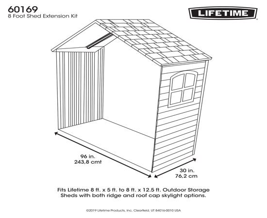 Lifetime 8x2.5 Ft Expansion Kit w/ skylight and Window(60169) - Great extension for lifetime sheds