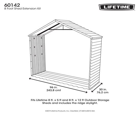 Lifetime 8 Ft X 2.5 Ft Outdoor Storage Shed Extension Kit (60142) - Great extension for your Lifetime 8ft wide sheds.