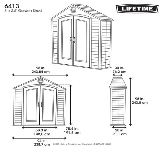 Lifetime 8x2.5 ft Plastic Storage Shed Kit (6413) - Dimension