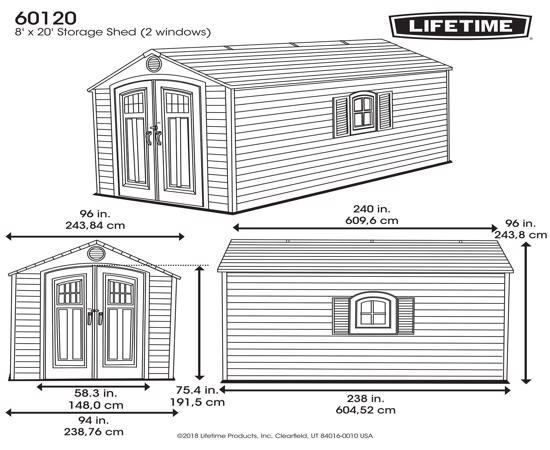 Lifetime Sheds 8x20 Plastic Storage Shed w/ 2 Windows (60120) - Dimensions