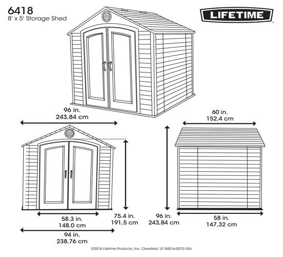 Lifetime 8x5 Plastic Storage Shed Kit (6418) - Dimensions