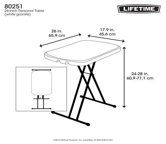 Lifetime Adjustable Height Personal Folding Table - White Granite (80251) -  Personal table for a variety of purposes.