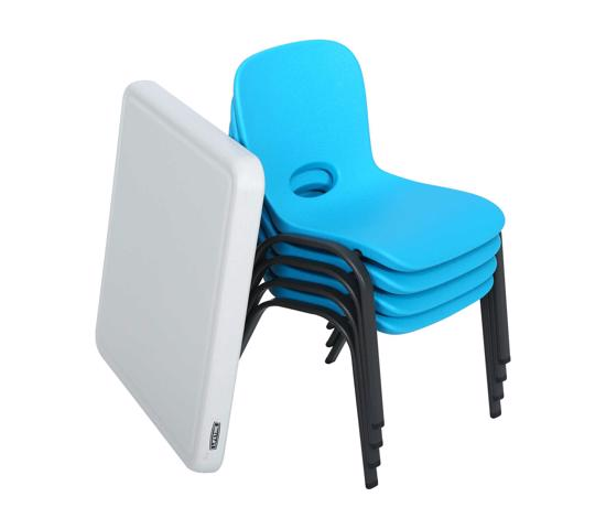 Lifetime Children's Table and Chairs Combo - Blue Chair, Almond Table (80499) - Easy to clean and perfect for kids games and project.