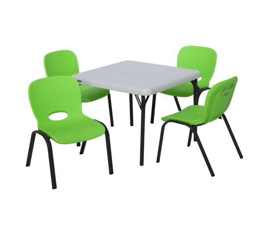 Lifetime Children's Table & Chairs Combo - Lime Green,Chair Almond Table (80500) - Easy to clean, and can be used indoor or out for kids fun and projects