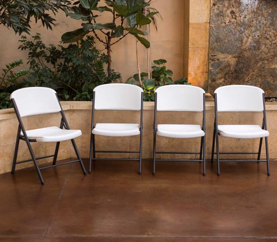 Lifetime Classic Commercial Folding Chair 4 Pack - White (42804)  - Ideal for friends and Family bonding.