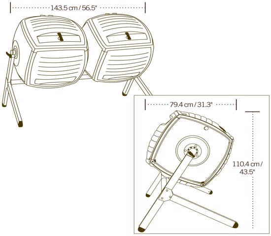 Lifetime Dual Composter Kit (60072) - Design is perfect for easy batch composting.