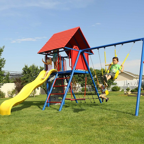 Lifetime Heavy Duty Metal Playset with Clubhouse Primary Colors 90137 - Perfect for playground activities.