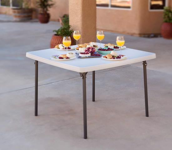 Lifetime Light Commercial 37 in. Square Folding Card Table - White (22315) - Strong and easy to clean that is ideal for indoor or outdoor use.