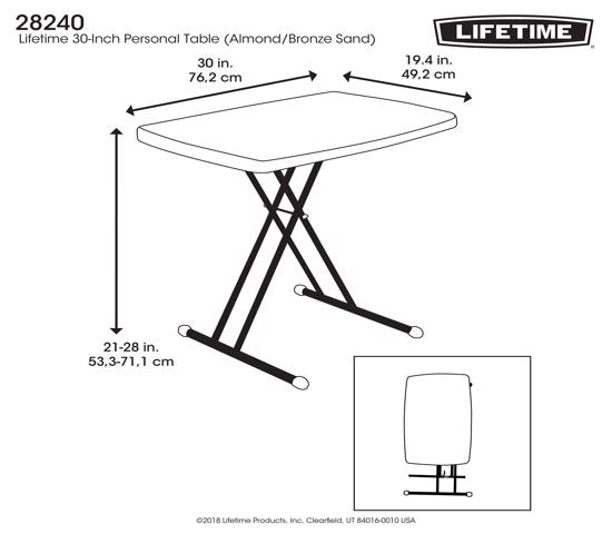 Lifetime 30x20 in. Personal Adjustable Height Folding Table  Almond (28240) - Versatile table for all your needs.