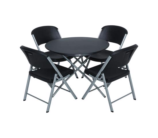 Lifetime Round Personal Table and Chairs Combo Black ( 80438) - Ideal size for a variety of purposes