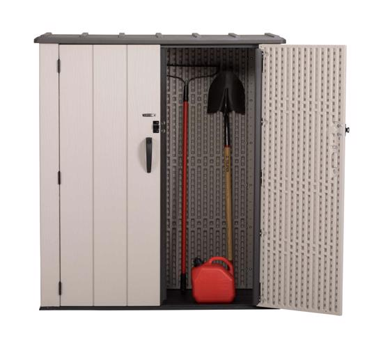 Lifetime Vertical Storage Shed Kit (60280) - Ideal for garden tools storage.