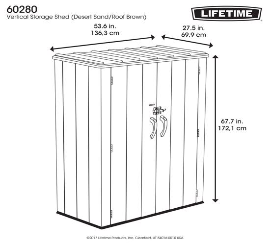 Lifetime Vertical Storage Shed Kit (60280) -  Dimension