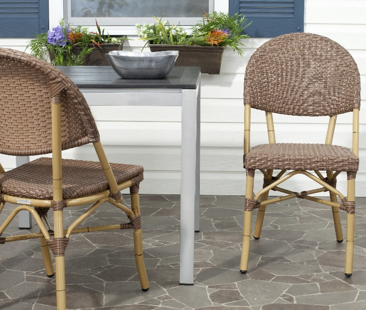 Safavieh Barrow Indoor-Outdoor Stacking Arm Chair Set of 2 - Brown (FOX5203A-SET2) Assembled in the dining area.