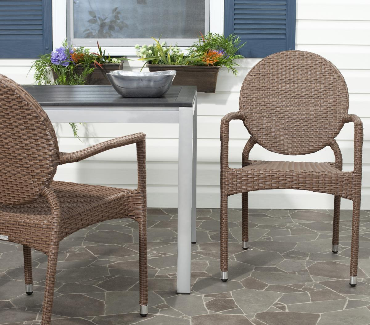 Safavieh Valdez Indoor-Outdoor French Bistro Stacking Side Chair Set of 2 - Brown (FOX5205A-SET2). Indoor and outdoor guest seating