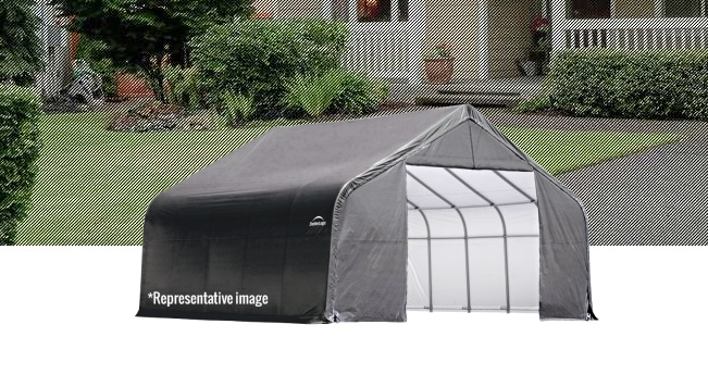 ShelterLogic 12x20x8 Peak Style Shelter Kit - Grey-71434-Perfect for ATV's, lawn and garden equipment, small tractors, patio furniture, pool supplies, tools and equipment and bulk storage.