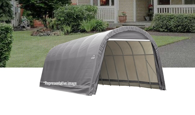 ShelterLogic 12x20x8 Round Style Shelter Kit -Grey-71332-Perfect for ATV's, lawn and garden equipment, small tractors, patio furniture, pool supplies, tools and equipment and bulk storage.