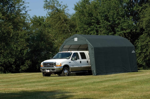 ShelterLogic 12x24x11 Barn Shelter Kit - Green 90154- Perfect for compact storage solution for ATV's, lawn and garden equipment and bulk storage.