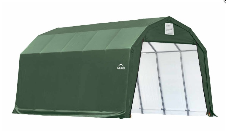 ShelterLogic 12x28x11 Barn Shelter Kit - Green 90254- Perfect for compact storage solution for ATV's, lawn and garden equipment and bulk storage.
