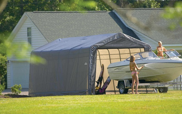 ShelterLogic 12x28x8 Peak Style Garage / Shed Kit - Grey (76432) Perfect storage for your small boats.