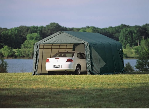 ShelterLogic 13x20x10 Peak Style Shed Kit -Green 73442-Perfect for ATV's, lawn and garden equipment, and bulk storage.