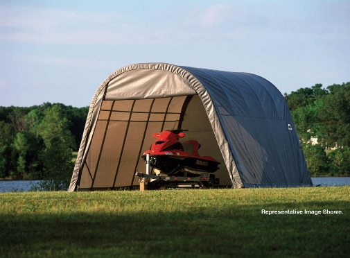 ShelterLogic 13x20x10 Round Style Shelter Kit -Grey 73332-Perfect for ATV's, lawn and garden equipment, and bulk storage.
