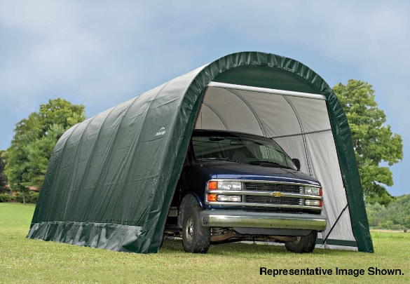ShelterLogic 13x28x10 Round Style Shelter Kit -Green 90234- Perfect for compact storage solution for ATV's, lawn and garden equipment and bulk storage.