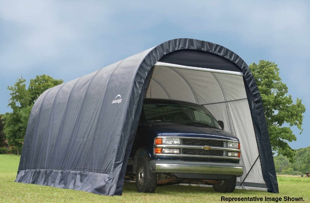 ShelterLogic 13x28x10 Round Style Shelter Kit -Grey 90233- Perfect for compact storage solution for ATV's, lawn and garden equipment and bulk storage.