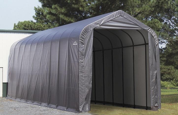 ShelterLogic 15x20x12 Peak Style Instant Garage Kit - Grey (95350) Assembled in the backyard.