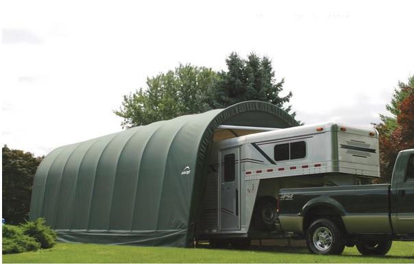 ShelterLogic 15x24x12 Round Style Shelter,Green 95361-Perfect storage for large vehicles.